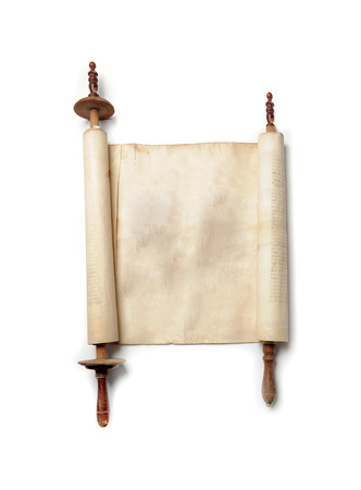 Roll of antique blank manuscript over white
