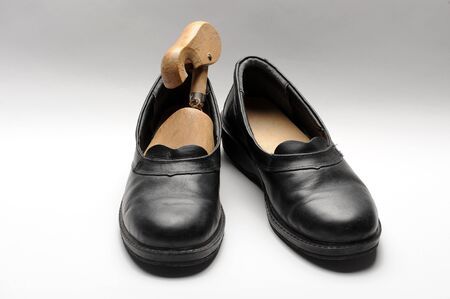 Pair of black antique men shoes Standard-Bild