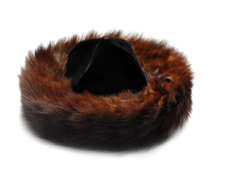 Traditional male jewish fur hat over white photo
