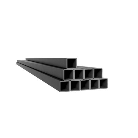 Pile of metal square beams at white background Standard-Bild