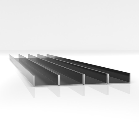 Metal corner beams of rectangular shape