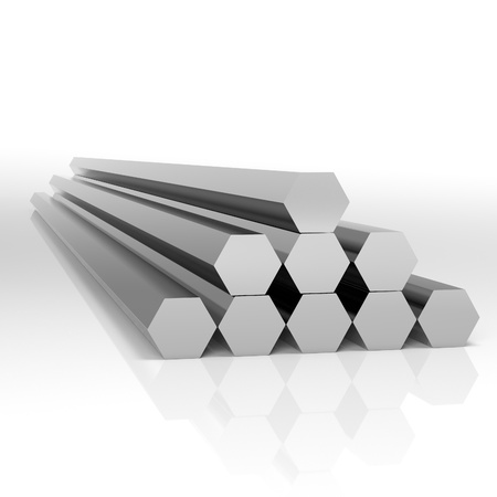 Folded metal beams hexagonal shape at white background