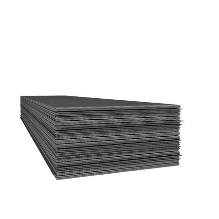 sheet metal: Folded stack of metallic sheets at white background Stock Photo