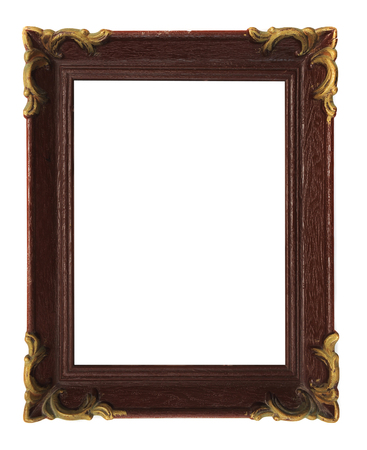 Empty carved vertical picture frame at white background
