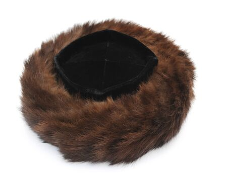 Traditional male jewish fur hat over white Standard-Bild