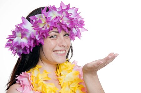 Pretty smiling girl in a hawaiian wreath with her hand raised