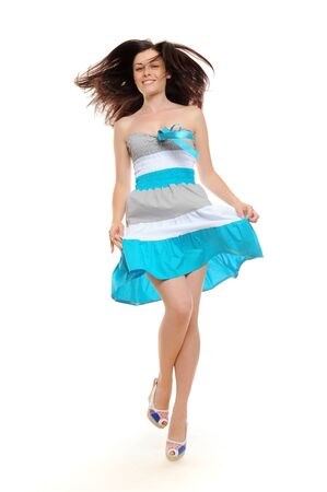 summer dress: Beautiful jumping girl in summer dress