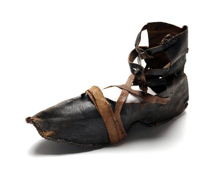 Old women leather shoe with straps