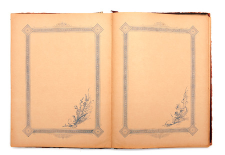 Vintage stylish empty opened decorated diary