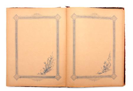 Vintage stylish empty opened decorated diary
