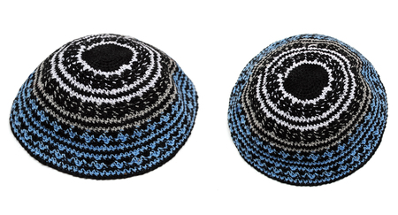 Two traditional embroidered jewish male headwear