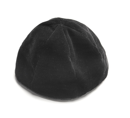 kippah: Traditional male jewish kipa at white background