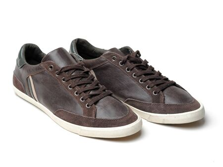 Brown sneakers on isolate white background