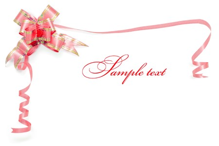 white silk: Card border from red ribbon with natural shadow
