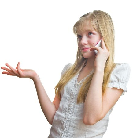 Young blonde girl talking to mobile phone Stock Photo