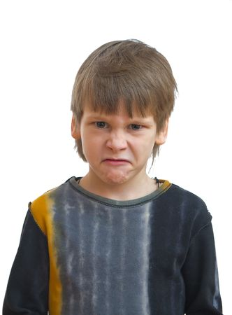 Young boy with abomination facial expression Stock Photo