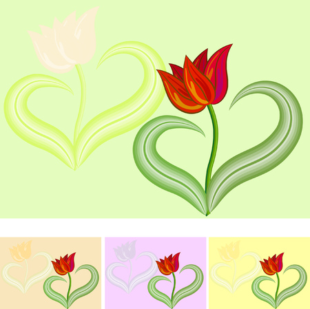 Greetings card Red tulip flower with two leaves