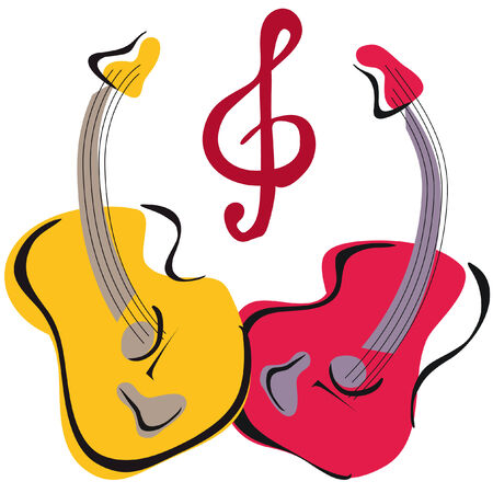 two guitar image vector freehand style with music sign Illustration