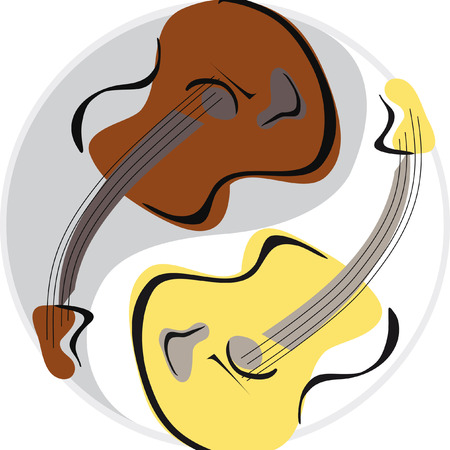 two guitar image vector freehand style in round and yin yang symbol Illustration