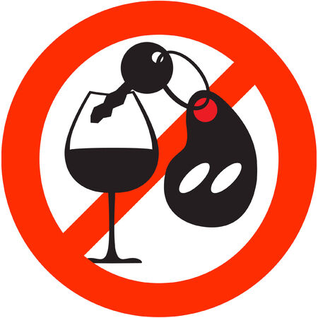 Red circle stop sign with car key and wine beaker Illustration