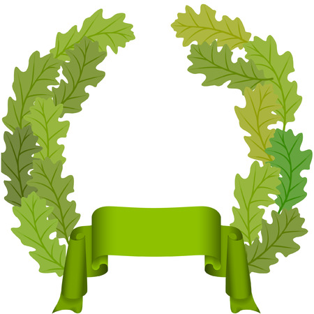 green ribbon and oak leaves wreath vector image Illustration