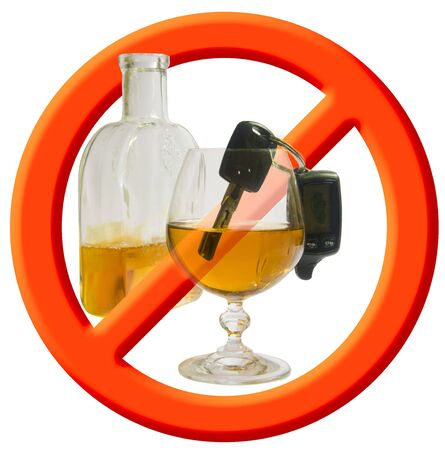 Red circle stop sign with car key and wine beaker Stock Photo