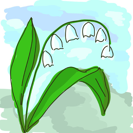 lily of the valley: hand draw lily of the valley