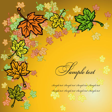 greeting card decorated with maple leaves with a lot of colors