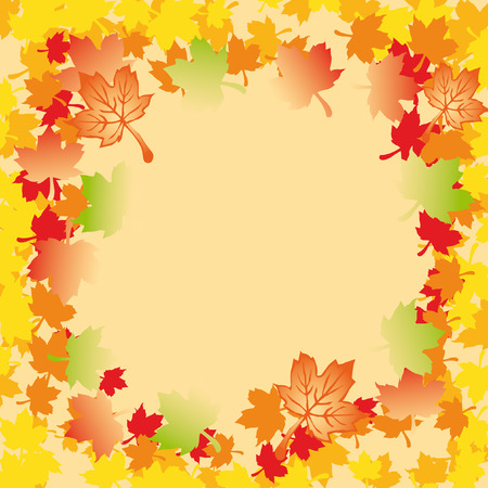 greeting card decorated with maple leaves with a lot of colors Illustration