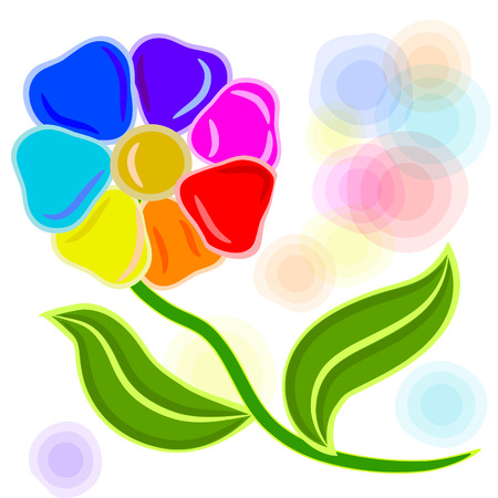 seven hand style flowers with leaves in different colors  Illustration