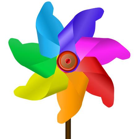 viento soplando:  Molino de viento en siete colores Vectores
