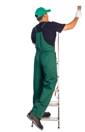 painter and decorator: Professional decorator with ladder and tool Stock Photo