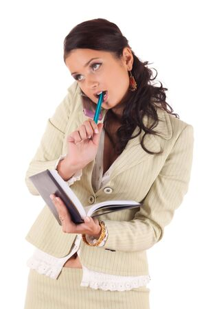 Businesswoman with cell phone and diary