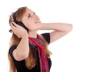 girl gets pleasure from music, studio sshot Stock Photo