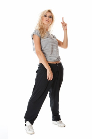 Hip hop street dancer with a finger up on white background Stock Photo - 10043642