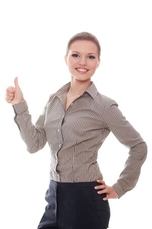 Positive businesswoman showing good sign with thumbs up over white background  photo