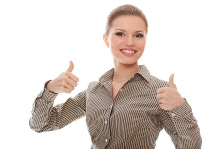 Positive businesswoman showing good sign with thumbs up Stock Photo - 10101768