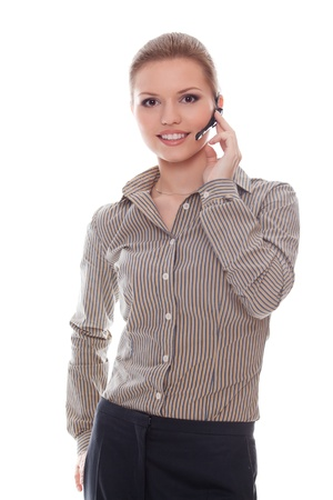 Friendly woman helpline operator. Studio shot. Stock Photo - 10101766