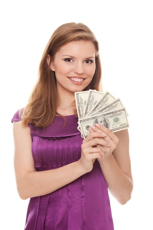 beautiful woman holding 500 dollars isolated on white background