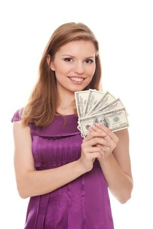 beautiful woman holding 500 dollars isolated on white background