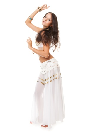 beautiful woman in the belly dance on white background