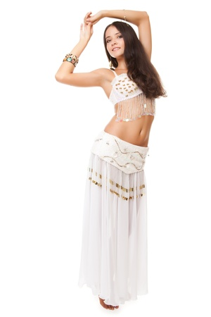 portrait of a beautiful belly dancer on white background