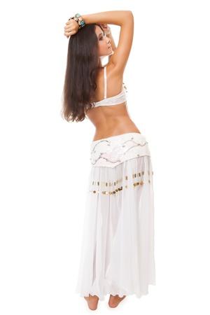 beautiful young woman arabic belly dancer. studio shot. Stock Photo