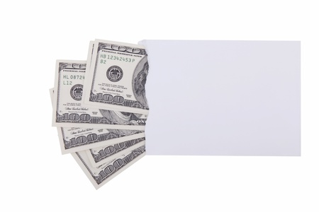Dollars in envelope isolated on white background