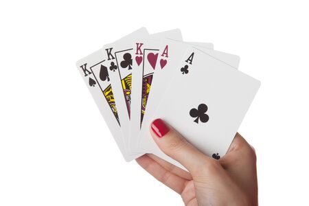 Full House of king and ace in hand isolated on the white background Stock Photo