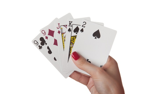playing with money: Pair of nine in hand isolated on the white background