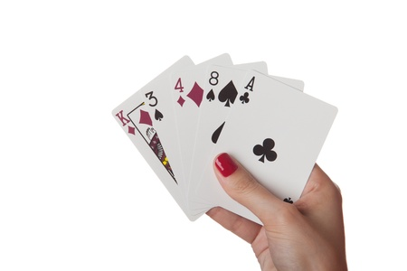 Ace High in hand isolated on the white background Stock Photo