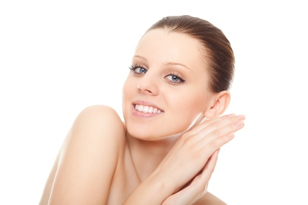 closeup portrait young woman with healthy clean skin and beautiful smile  isolated over white background