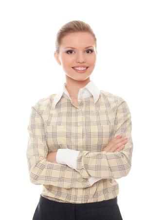 erfolgreiche junge Frau, die verschränkten Armen auf weißem Hintergrund Standard-Bild