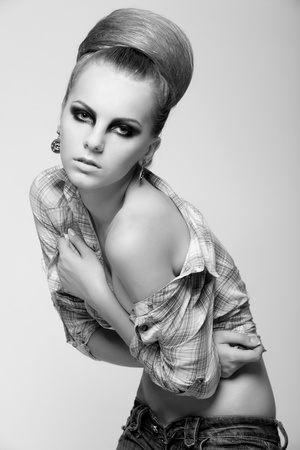 black and white photography from portfolio professional model. studio shoot. Stock Photo